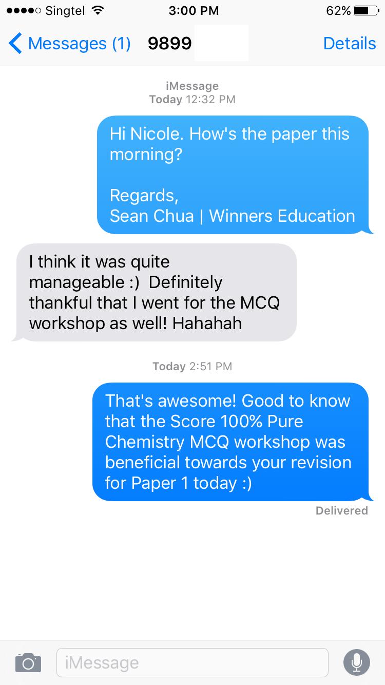 gce o level pure chemistry score % mcq mastery nicole