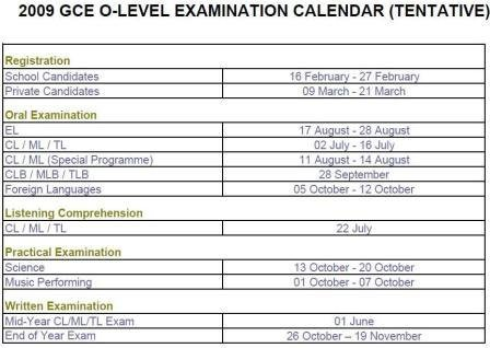 2009 gce o level examination calendar tentative simplechemconcepts. Black Bedroom Furniture Sets. Home Design Ideas