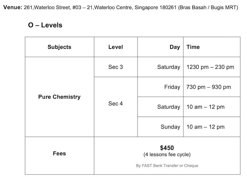 Winners Education O-Level Chemistry 2017 Class Schedule Taught by Ten-Years-Series Author Sean Chua