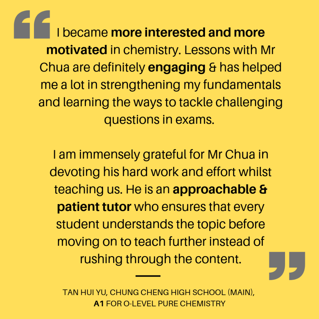 Tan Hui Yu Chung Cheng High School Main A1 for O-Level Pure Chemistry