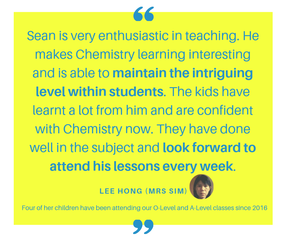 Mrs Sim Testimonial of Winners Education. 4 of her children have been attending our O-Level and A-Level classes since 2016